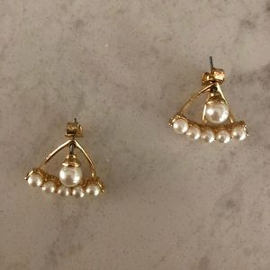 Jewelry - Faux Gold & Pearl Jacket Earrings